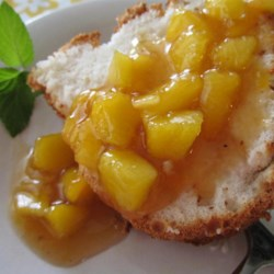 Peach Sauce Recipe - Simmer peaches, tea, nutmeg, and sugar together for the perfect sweet topper for pancakes.