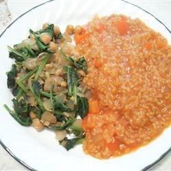Espinacas con Garbanzos and Spanish Rice