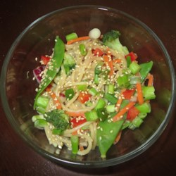 Asian Pasta Salad Recipe - Quick, colorful and oh so tasty, this pasta salad gets its distinctive flavor from ready-made Asian-style salad dressing. Lightly blanched broccoli and snow peas along with red pepper and red onions add to the fun.