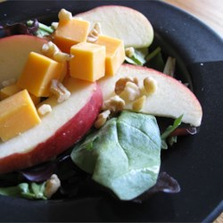 Jackie's Spinach and Apple Salad Recipe - This is a unique and delicious spinach salad with Granny Smith apples, walnuts, and Cheddar cheese. One of our family's favorites!