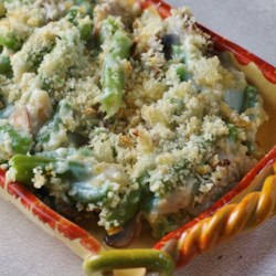 Fresh Green Bean and Mushroom Casserole Recipe - Made with fresh green beans and mushrooms, this recipe calls for little more work than traditional green bean casseroles, but is well worth the effort.