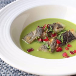 Spring Pea Green Curry with Black Cod and Strawberry Recipe - Chef John's unlikely pairing of sweet peas, green curry, black cod, and strawberries bring together a beautiful spring pea green curry dish.