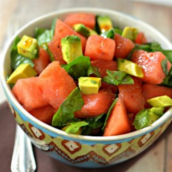 Avocado Watermelon Salad Recipe - Avocado and watermelon salad with a walnut oil-based vinaigrette is a delightfully different salad for summer picnics or a quick lunch.