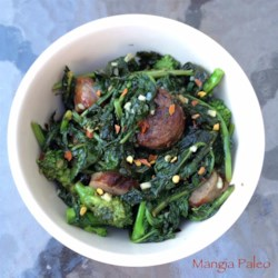 Paleo Broccoli Rabe and Sausage Recipe - This paleo-friendly recipe is a simple pan-frying of sausage and broccoli rabe in olive oil seasoned with garlic and lemon.