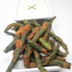 Green Bean Fries with Cucumber Wasabi Dip Recipe - Green beans are coated in a crispy batter and fried creating green bean fries! Serve alongside homemade creamy cucumber wasabi dip.