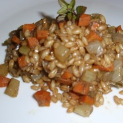 Minted Barley Pilaf Recipe - Minted barley pilaf with carrot and onion is a flavorful side dish alternative to the traditional rice pilaf.