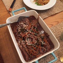 Mongolian Beef from the Slow Cooker Recipe - Whether you freeze this mixture of beef and carrots in a sweet-and-savory Asian-style sauce or put it straight into the slow cooker, it's easy and delicious!