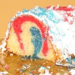 """""""magic cake""""- simple white cake-patriotic"""
