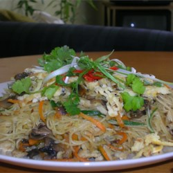 Shrimp Fried Noodles - Thai-Style Recipe - Try this very popular Thai dish, good for lunch, supper or anytime you crave something exotic with a little tang!