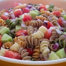 Rainbow Pasta Salad II Recipe - This is a really quick and easy pasta salad. Great for picnics and BBQ's.
