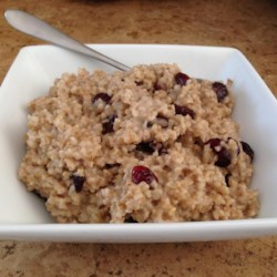 "Cranberry, Cinnamon, and Brown Sugar Steel Cut Oats Recipe - Inspired by ""raisins and spice"" varieties of instant oatmeal, this recipe uses steel-cut oats and dried cranberries to elevate a pedestrian breakfast cereal to something special."