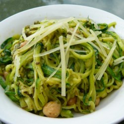 Pesto Zoodles Recipe - Zucchini noodles, also known as zoodles, are tossed with pesto and garbanzo beans for a satisfying grain-free meal.