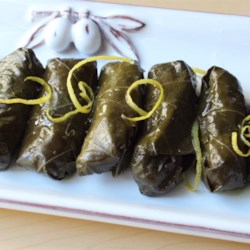 Lamb and Rice Stuffed Grape Leaves Recipe - Chef John's lamb and rice-stuffed grape leaves make great party food and can be served warm or chilled--and they'll disappear fast!