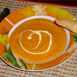 Carrot and Cilantro Soup Recipe - This easy carrot and coriander soup is lovely and creamy, with a bit of a twang. It's an ideal winter warmer or a spicy starter which delights the palate. Suitable for vegetarians.