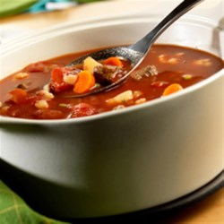 Savory Vegetable Beef Soup by Swanson(R) Recipe - Yum... you can ladle up this flavorful, homemade beef and vegetable soup in just 30 minutes.