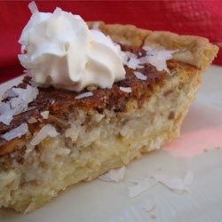 French Coconut Pie Recipe - This is very rich and custard-like with coconut and pecans