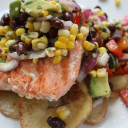 Salsa Over Grilled Salmon and Roast Potatoes