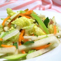 Jicama, Carrot, and Green Apple Slaw Recipe - Pear and cilantro accompany jicama in this flavorful take on an old barbeque standby.