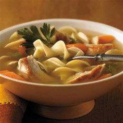 Swanson(R) Sensational Chicken Noodle Soup Recipe - Swanson(R) Chicken Broth provides the perfect base for this home style soup packed with carrots, celery, shredded cooked chicken and extra wide egg noodles.