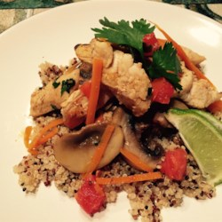 Thai Chicken Quinoa and Veggie Delight Recipe - This stir-fried quinoa dish features chicken and vegetables and is finished with lime juice and cilantro.