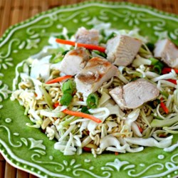 Portable Chinese Chicken Salad Recipe - This cold chicken coleslaw salad is wonderful, because you prepare it ahead of time and mix it up just before serving. It's also an easy salad to travel with.