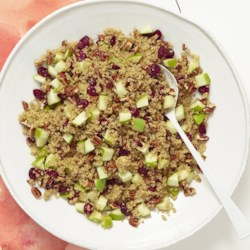 Cranberry Apple Pecan Quinoa Salad Recipe - Just as the name says, this beautiful and light-tasting quinoa salad features cranberries, apples, and pecans in a Dijon mustard and cinnamon dressing.