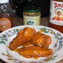 Gold Fever Chicken Wing Sauce Recipe - Honey mustard and hot sauce combine in this spicy chicken-wing sauce.