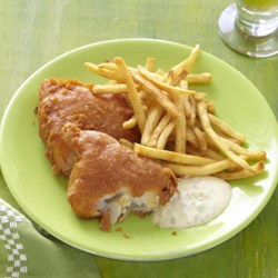 Beer Batter Fish Made Great Recipe - Fried fish filets in a spicy beer batter with lots of paprika and garlic powder.