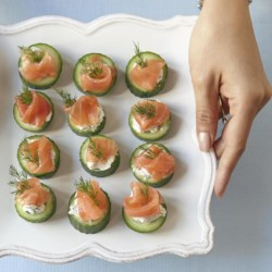 Cucumber Cups with Dill Cream and Smoked Salmon Recipe - Quick and easy to make and beautiful to look at, cucumber cups with dill cream and smoked salmon are a classic flavor combination.