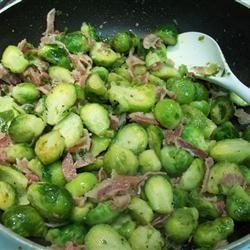 Jasmine's Brussels Sprouts Recipe - A tasty side dish that combines the flavors of garlic and pancetta with Brussels sprouts.