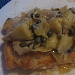 Chicken picatta with Artichoke Hearts