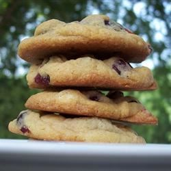 White Chocolate and Cranberry Cookies Recipe - I make a basic chocolate chip cookie dough, but use white chocolate chips, dried cranberries, and brandy (instead of vanilla). Great for Christmas time!