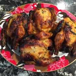 Grilled Game Hens with Blood Orange and Rosemary Recipe - These small spring chickens cook slowly and smoke nicely on a medium grill for beautiful browned skin and meat that has a spicy, tangy taste from a blood orange marinade.