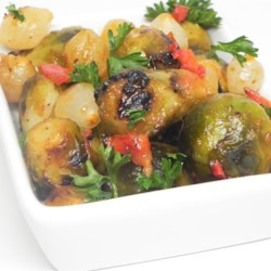 Outdoor Vegetable Skillet Recipe - A great recipe for people who claim they 'hate' Brussels sprouts. Brussels sprouts and other veggies are marinated in French dressing, then grilled. This can be easily cooked inside on the stove also.