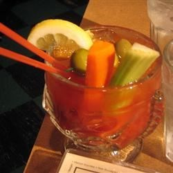 Spicy Red Snapper (Bloody Mary with Gin) Recipe - I've tried many variations, and decided that these ingredients make the very best Red Snapper out there.  It is now my go-to drink, and friends absolutely love it - even those who don't like gin. Careful! Your lips might burn, but it sure goes down easy!