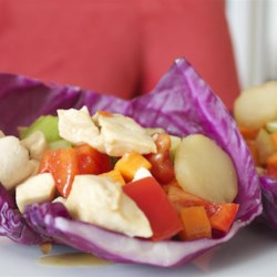 Chicken Cabbage Wraps Recipe - Healthy chicken cabbage wraps are low-fat, low-calorie, non-dairy, and flavorful, seasoned with red curry paste and sesame-ginger dressing.