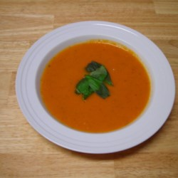 Creamy Tomato-Basil Soup Recipe - Simple to prepare, delicious tomato-basil soup. Great for an easy lunch served with bread or grilled cheese!
