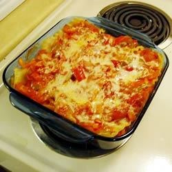 Spicy Vegetarian Lasagna Recipe - A colorful and tasty veggie lasagna with plenty of peppers and cheese with red pepper flakes for zip.