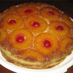 Pineapple Upside-Down Cake V Recipe - This recipe makes a two-layer pineapple upside-down cake using cake mix and canned pineapple.