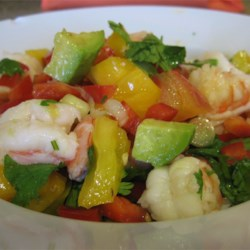 Avocado-Lime Shrimp Salad (Ensalada de Camarones con Aguacate y Limon) Recipe - This easy shrimp salad contains no lettuce. It's perfect for barbeques or as a 'change of pace' dinner side dish. Customize this recipe with your favorite salad dressing in place of the lime juice. The lime gives it a tiny tangy kick.