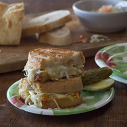 Grilled Cheese and Veggie Sandwich Recipe - Havarti, coleslaw, and sprouts unite to form a grilled cheese to remember!