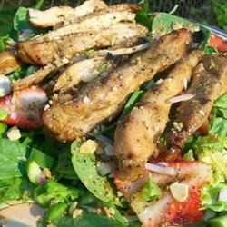 Grilled Chicken Salad with Seasonal Fruit Recipe - This terrific main dish salad can be varied with the seasons. In summer, add your favorite berries along with the grilled chicken, and in winter try orange segments or dried fruit.