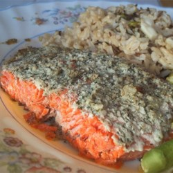 Garlic and Dill Salmon Recipe - Marinated in a paste of fresh dill, garlic, and olive oil, this baked salmon is wonderfully simple to prepare AND great eating.