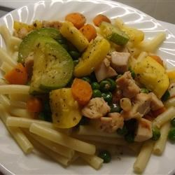 Bow Ties, Zucchini, Carrots, and Chicken Recipe - Whimsical bow tie pasta is served with a delicious sauce featuring chicken, zucchini, and carrots.