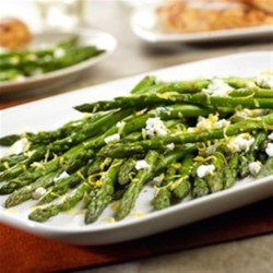 Roasted Asparagus with Lemon and Goat Cheese Recipe - After you try this recipe, it will be difficult to make asparagus any other way. You'll see how roasting the asparagus brings out exquisite flavors that are enhanced by just the right amount of goat cheese and lemon.