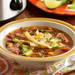 PAM's Spicy Slow Cooker Chicken Tortilla Soup Recipe - A slow cooker chicken tortilla soup recipe with chicken thighs, Southwest mixed vegetables, zesty tomatoes, spices and fresh lime juice.