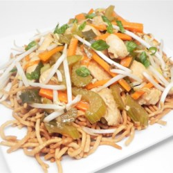 Cantonese Chicken Chow Mein Recipe - Chow mein noodles are stir-fried with chicken and vegetables in a soy sauce-based marinade in this Cantonese chow mein recipe.