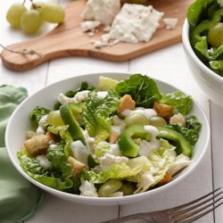 Cucumber Ranch and Feta Salad Recipe - This light and refreshing green salad with grapes, feta cheese, bell peppers, and croutons is complemented perfectly with Hidden Valley(R) Original Ranch(R) Light Cucumber Dressing.