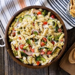 Cold Pasta Primavera Salad from Hidden Valley(R) Recipe - Rotini pasta and vegetables are tossed with ranch dressing in this cold pasta primavera salad that is perfect for picnics and potlucks.