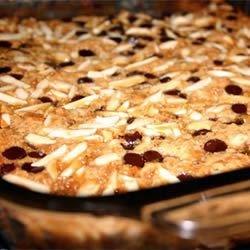 Chocolate Chip Almond Caramel Cookie Bar